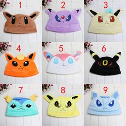 Wholesale Soft Pikachu Hat - Wholesale- Cute Soft Warm Plush hat Pikachu Hat Umbreon Espeon Jolteon Flareon Eevee Leafeon Glaceon Vaporeon Cap Gift for Adult plush toys