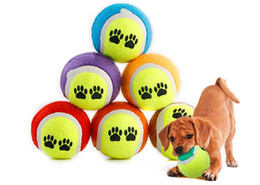 Wholesale Tennis Candy - High Quality 1 Pc Candy Color Rubber Tennis Balls Dog Toy Run Catch Throw Play Toy Chew Toys 65mm