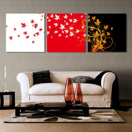 Wholesale Leaves Abstract Wall Art Panel - 3pcs set Unframed Flying Leaves Abstract Painting On Canvas Giclee Wall Art Painting Art Picture For Home Decor