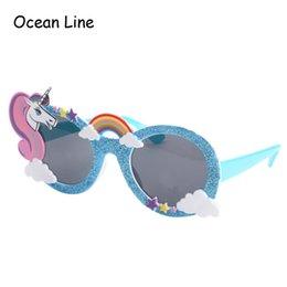 Wholesale Birthday Sunglasses - Shiny Blue Unicorn Funny Party Favors Costume Glasses Sunglasses Mask Birthday Photobooth Props Gift Wedding Supplies Decoration