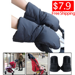 Wholesale Bicycle Winter Gloves Waterproof - Wholesale- One Pair Waterproof Black Strollers Warm Gloves Thick Wool Winter Must-Go Carts Antifreeze Outdoors Gloves Bicycling Gloves