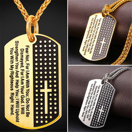 Wholesale Dog Steel Chain - U7 New Inspirational Jewelry Cross Letter Pendant Necklace Gold Plated Stainless Steel Rope Chain Dog Tags Lord Prayer for Women Men GP2378
