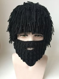 Wholesale Mad Men Hats - Wig Beard Hats Hobo Mad Scientist Rasta Caveman Handmade Knit Warm Winter Caps Men Women Halloween Gift Funny Party Mask Beanies