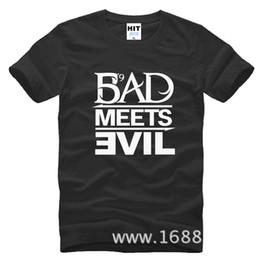 Wholesale Bad Meets Evil - 2017 New Fashion Eminem Bad Meets Evil Print Men's T-Shirt Fashion T Shirt For Men Short Sleeve Cotton Casual Top Tee