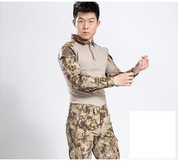 Wholesale Men S Military Uniform - Mens Frog Suit Airsoft Uniform Army Military Uniform Tactical Suit Desert Sand boa Combat Shirt CS Sets Shirt+Pants