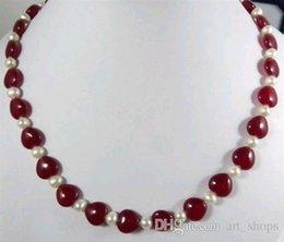 Wholesale Ruby Pearl Chain - Elegant! 7-8MM Natural White Cultured pearl&Heart red RUBY Necklace
