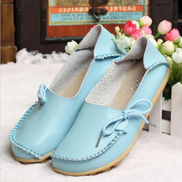 Wholesale Female Footwear - New Women Real Leather Shoes Moccasins Mother Loafers Soft Leisure Flats Female Driving Casual Footwear Size 34-44 In 15 Colors