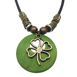 Wholesale Indian Wooden Pendants - 7 Kinds of Leather Chain Necklace Gift Bohemia Choker Coffee Green Wooden Pendant 2017 Sweater Statement Necklaces for Women