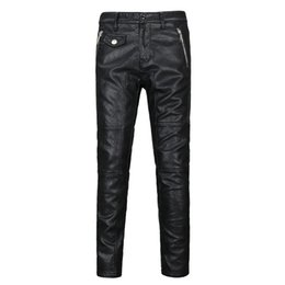 Wholesale Leather Motorcycle Pants 36 - Wholesale- New Male Black Brand Leather Pants Super Skinny Motorcycle Biker punk mens leather pants Autumn winter Trousers For Men 28-36