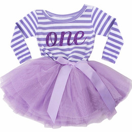 Wholesale Infant Long Sleeve Dresses - Wholesale- Long Sleeve Toddler Baby Striped Dress First Communion Infant Baptism Clothes One Two Side 1 Year Birthday Dresses for Infant