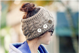 Wholesale Ear Hats For Women - Hot Sale Snap Button Knitted Hat 18 Charms Fashion Jewelry For Women One Direction interchangeable jewelry