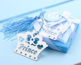 Wholesale Prince Weddings - The Children's full moon gift crown shapd bookmark Crown princess and prince bookmark Blue and pink box packing wedding gift
