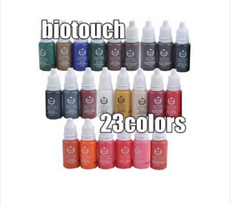 Wholesale Eyebrow Cosmetic Tattoo Ink - Wholesale-23pcs biotouch tattoo ink set pigments permanent makeup 15ml cosmetic color tattoo ink for eyebrow eyeliner lip Free freight ,Fr