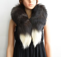 Wholesale Real Fox Tails - 2017 New Fashion Winter FUR Warm FOX TAIL 100% Real Fox Fur Scarf Collar Men&Women Long 90-100cm best holiday gift