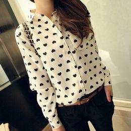 Wholesale Shirt Chiffon Retro Dot - New Retro Vintage Women\'s Chiffon Button Down Blouse Heart Print Casual Shirt Women Clothes
