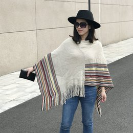 Wholesale Capes Ponchos For Women - Winter Woolen Ethnic Boho Tassel Striped Poncho For Women Patchwork Warm Scarf Cape Wraps Oversize Shawl