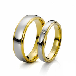 Wholesale tension lover - Shardon fashion lovers tungsten carbide wedding rings with CZ stone inlay gold plated have in stock
