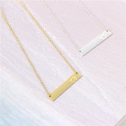 Wholesale Copper Printing Plates - New Fashion Bar Pendant Lettering Paw Necklace Wholesale Cute Animal Palm Print Bar Necklace Dog Cat Paw Prints Jewelry Animal Pet Lovers