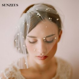 Wholesale Hats Short Hair - Elegant Tulle Pearls Bridal Veil Short Face Veil with Comb Hair Fascinators Headpiece Party Hats Birdcage Veil Wedding Accessories