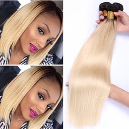 Wholesale Two Tone Blonde Ombre Hair - Dark Roots Blonde Ombre Malaysian Straight Hair #1B 613 Two Tone Virgin Hair Bundles 8A Ombre Malaysian Straight Hair Weaves