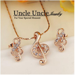 Wholesale Favorite Earrings - Office Lady Favorite!! Rose Gold Color Rhinestone Musical Note Element Jewelry Set Earrings Necklace Wholesale