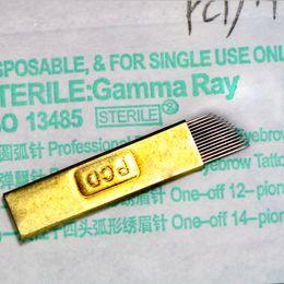 Wholesale Needles Slope - 100pcs PCD Microblading Eyebrow Permanent Makeup Manual Blade Needle 0.3mm 14-pin Sloped Individual pack
