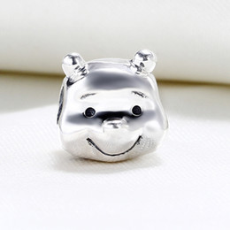 Wholesale European Beads Bear - Wholesale Real 925 Sterling Silver Not Plated Winnie Bear Charm European Charms Beads Fit Pandora Snake Chain Bracelet DIY Fashion Jewelry