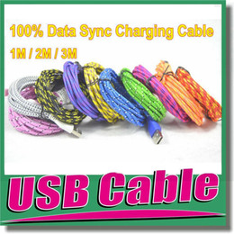 Wholesale Cell Phone Charger Cable Wholesale - Good quality 3FT 6FT 10FT Nylon Woven Cords Micro USB Fiber Fabric Braided Data Charger Cable Cord For Smartphone Cell Phone S6 S7 OM-E3