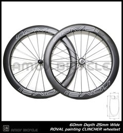 Wholesale Carbon Rear Wheel Clincher - Free shipping 25mm width Roval paint 60mm carbon wheelset full carbon 700C road bike bicycle wheelswheels