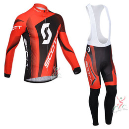 Wholesale Mens Cream Suits - New Arrival Scott Mens Bike clothes Suits Long Sleeve Red Shirt and Pants Ropa ciclismo High Quality pro Cycling Jersey Set C0605