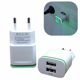 Wholesale Chinese Led Wall Lights - CinkeyPro EU Plug 2 Ports LED Light USB Charger 5V 2A Wall Adapter Mobile Phone Device Data Charging For iPhone iPad Samsung