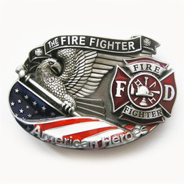 Wholesale Fire Belts - New Vintage American Hero Firefighter Fire Enamel Belt Buckle Gurtelschnalle Boucle de ceinture BUCKLE-3D039 Free Shipping