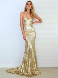 Wholesale Lace Halter Style Dress - 2018 Trumpet Mermaid V-neck Sequined Ruffles Sweep Train Gold Backless Hot Prom Dresses New Style
