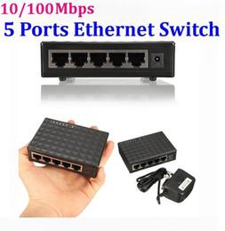 Wholesale Lan Switch Port - 10 100Mbps 5 Ports Desktop Ethernet Switch Network Switch LAN Power Adapter Switch Hub * 30set lot