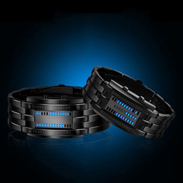 Wholesale Sport Watch Binary - Wholesale- Deluxe Luxury LED Electronic Men Women Stainless Steel Wristwatches Blue Binary led Displayer Luminous Sports Watches