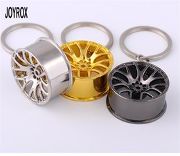Wholesale Cool Car Hanging Accessories - Fashion Stainless steel Car KeyChain Cool Auto Wheel Styling Golg Black Key Ring for Hanging Car Accessories