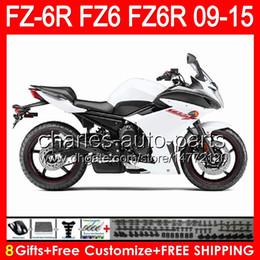 Yamaha fz6r carenado negro online-brillo blanco 8gifts para YAMAHA FZ6R 09 10 11 12 13 14 15 FZ6N FZ6 89NO157 FZ-6R FZ 6R 2009 2010 2011 2012 2013 2014 2015 blanco negro Fairing