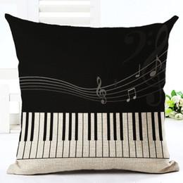 Wholesale Music Pillow Cases - Wholesale- Music Series Note Printed Cotton Linen Decorative Pillow Case Seat 45*45cm Pillowcase Drop Shipping
