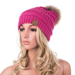 Wholesale Mink Fur Yarn - Real Mink Pom Poms Wool Reccoon Fur Knitted Hat Skullies Winter Hat Women Girls Hat feminine Casual Beanies A404