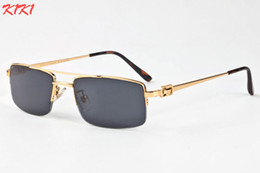 Wholesale Gold Mirrored Aviator Sunglasses - 2017 Buffalo Horn Sunglasses Semi Rimless Sun glasses For Men Night Vision Gold Frame Glasses Gradient Sun glasses Aviator Sunglasses
