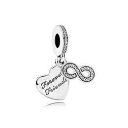 Wholesale Hanging Charms Pandora - Authentic 925 Silver Beads Forever Friends Hanging Charms Fits European Pandora Style Jewelry Bracelets & Necklace