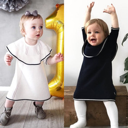Wholesale Boat Neck Cardigan - INS Baby Girls Dresses Infants Autumn Knitted Sweater Cotton Long Sleeve Princess Dress Children Pullover Cardigan Kids Clothes Free DHL 306
