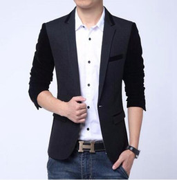 Wholesale English Men Suits - Men in Europe and the leisure business English new fashion boutique personality a grain of splicing small suit jacket   M-6XL