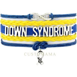 Wholesale infinity hope - Custom-Infinity Love Down Syndrome Awareness Hope Ribbon Multilayer Bracelet Gift for Fighters Blue Gold Leather Bracelet
