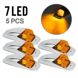Wholesale Led Clearance Lights For Trailers - 5xM27011Y Amber Yellow 7 LED Chrome Upper Cab Marker Clearance Lights for Truck Trailer Freightliner Free shipping