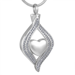 Wholesale Locket Chain For Men - MJD8111 Heart in crystal stainless steel Memorial Urn cremation jewelry ashes urn necklace for women men