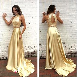 Wholesale Sexy Silk Robes For Women - Gold Beaded Crystal Two Pieces Prom Dresses 2017 Abendkleid Shiny Satin Robe de soiree Long Formal Dress for Women Evening Gowns