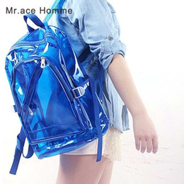 Wholesale School Bag Jelly - Women Jelly Backpack Summer Candy Transparent Clear Plastic Waterproof Backpack for Teenage Girls PVC School Bags Shoulder Bag