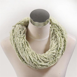 Wholesale Offer Scarf - Special offer winter bluish-green double fur men and women luxury scarf neck sets.