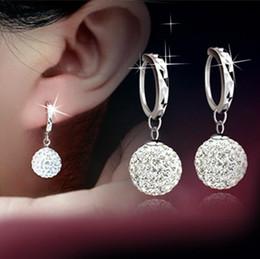Orecchini pendenti con sfera piena di cristalli di strass e cristalli austriaci ciondola orecchino d'argento per le donne da